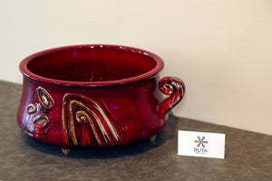 "Large Hand made ceramic ""Red"" bowl"
