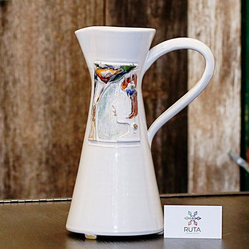 Ceramic pitcher (white, blue, brown, or red)