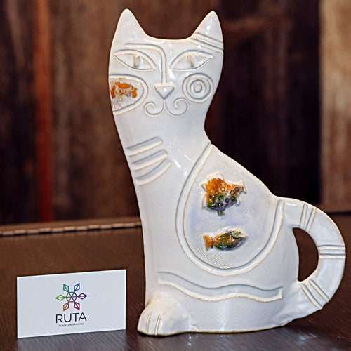 Small Ceramic Cat (Green, Yellow, Brown, White or Red)