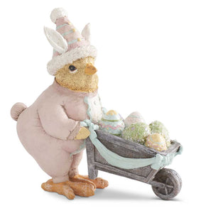 6.25 Inch Easter Chick in Bunny Suit Pushing Wheelbarrow Filled w/E
