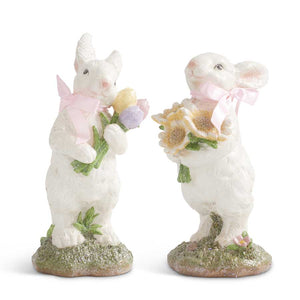 Assorted Glitter Bunnies w/Pink Bow Holding Flowers (2 Styles)