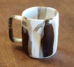 Small Mug in Grey Abstract Stripe