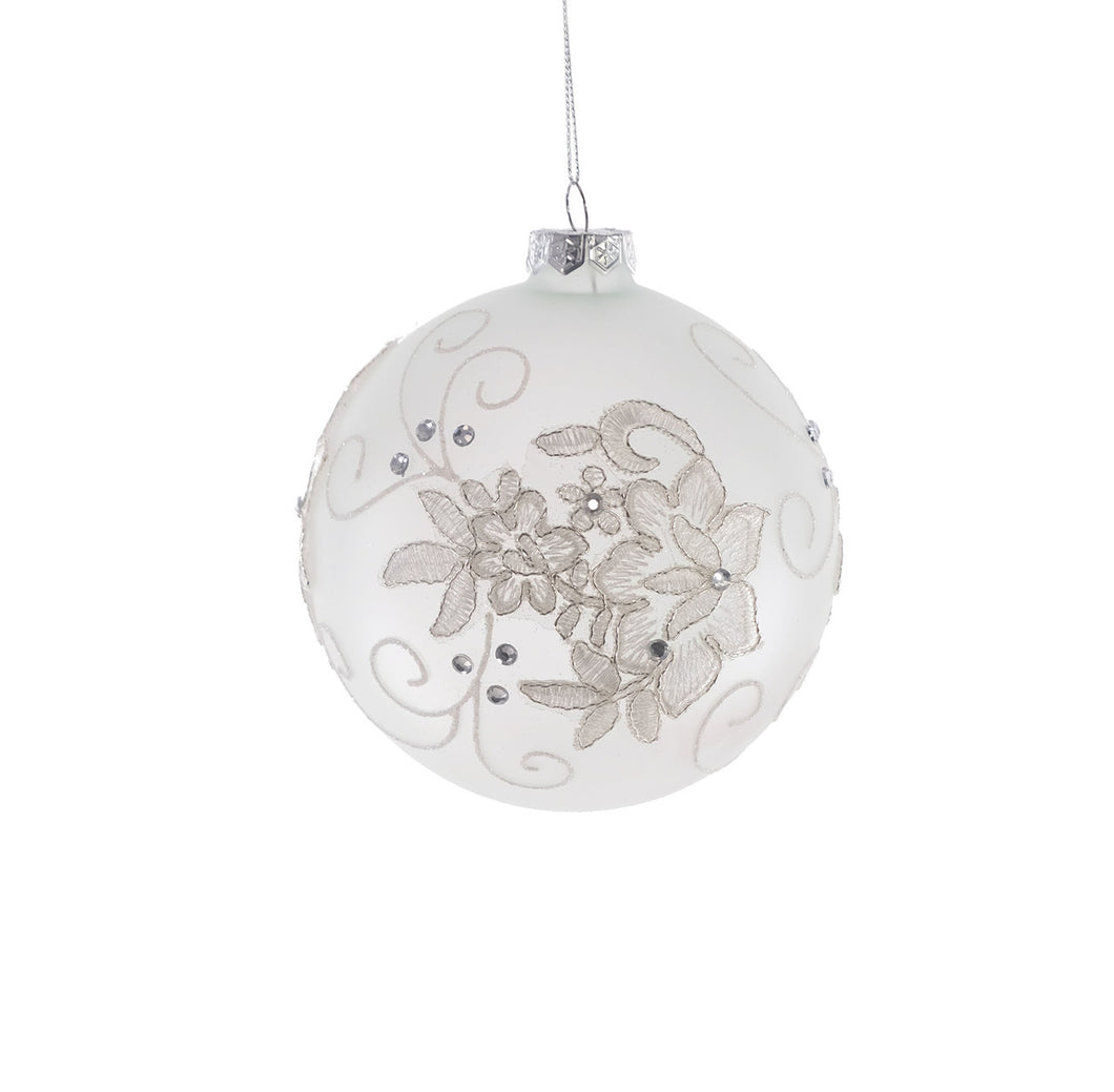 Frosted Lace Ball Ornament