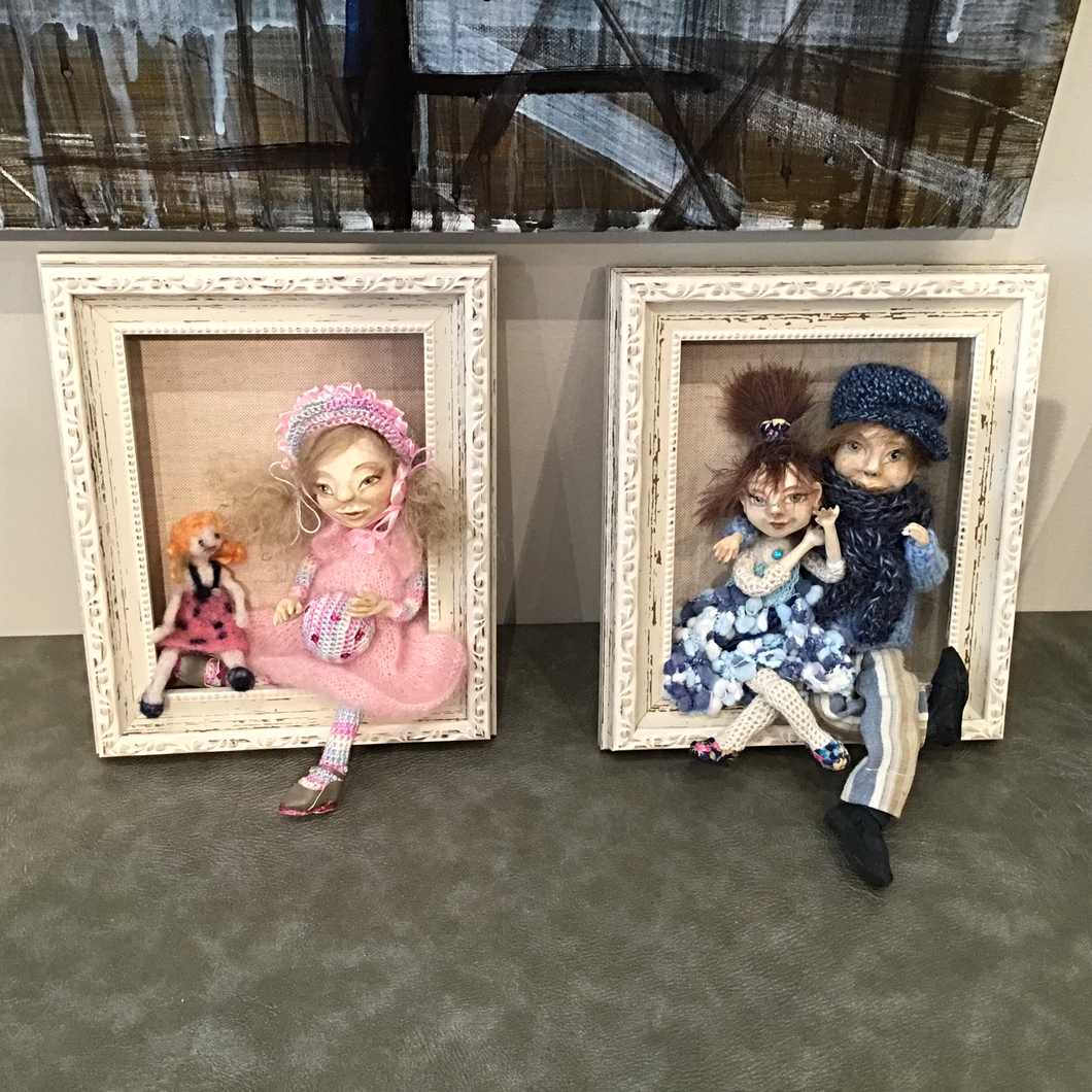 Framed Handmade Doll