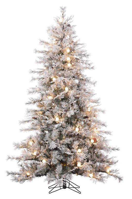 7.5'SNOW KING FLOCKED TREE, LIT **NET** 1215 TIPS/47 G40 LTS/56 DIA