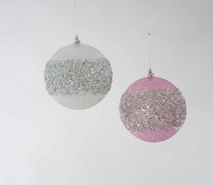 Pink/Silver Encrusted Ornament