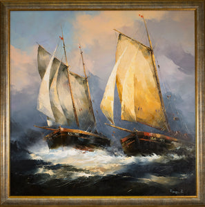 Oil Painting Ships at Sea