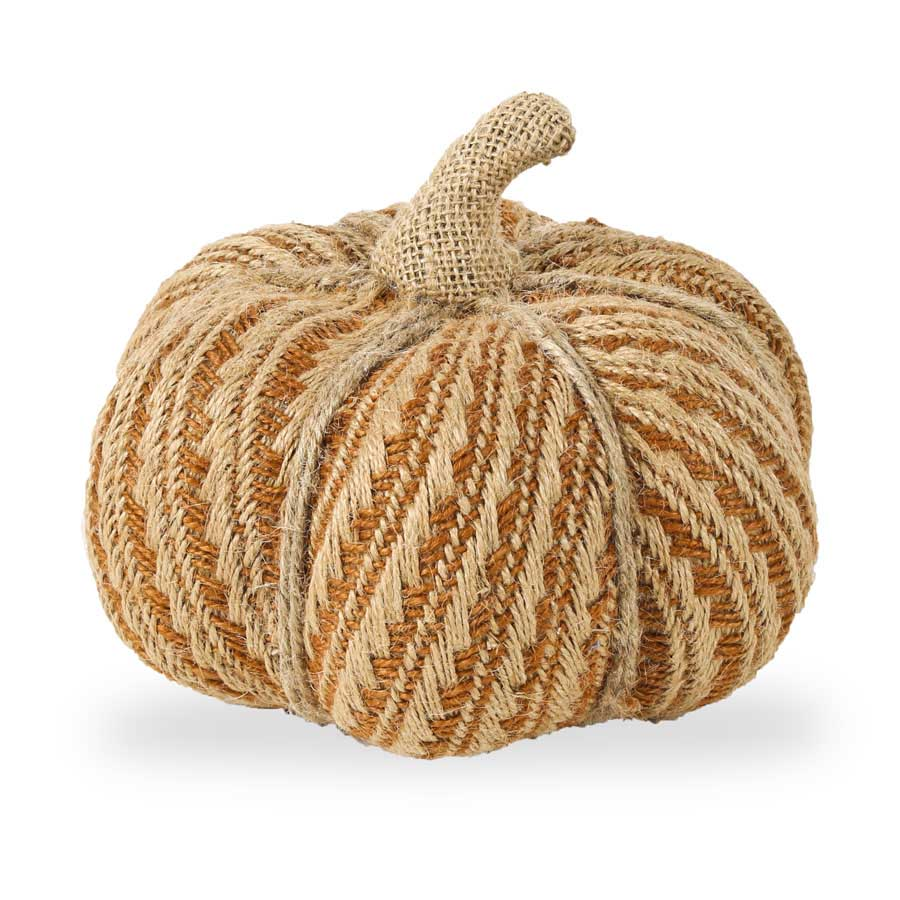 7 Inch Sm Orange and Tan Pumpkin w/Burlap Stem