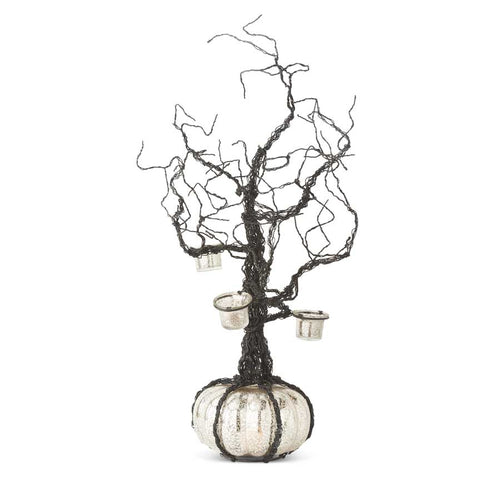 28 Inch Black Wire 3 Votive Halloween Tree With Mercury Pumpkin Base