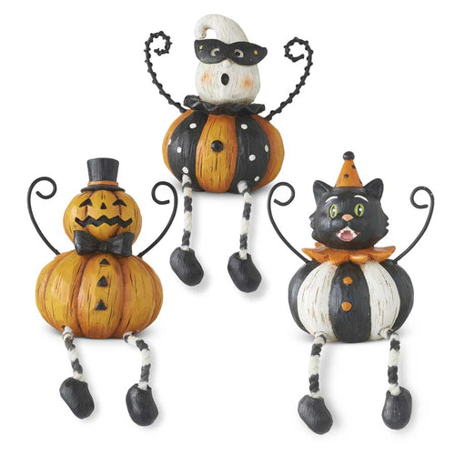 Assorted 7 Inch Resin Halloween Shelf Sitters w/Wire Arms (3 Styles)