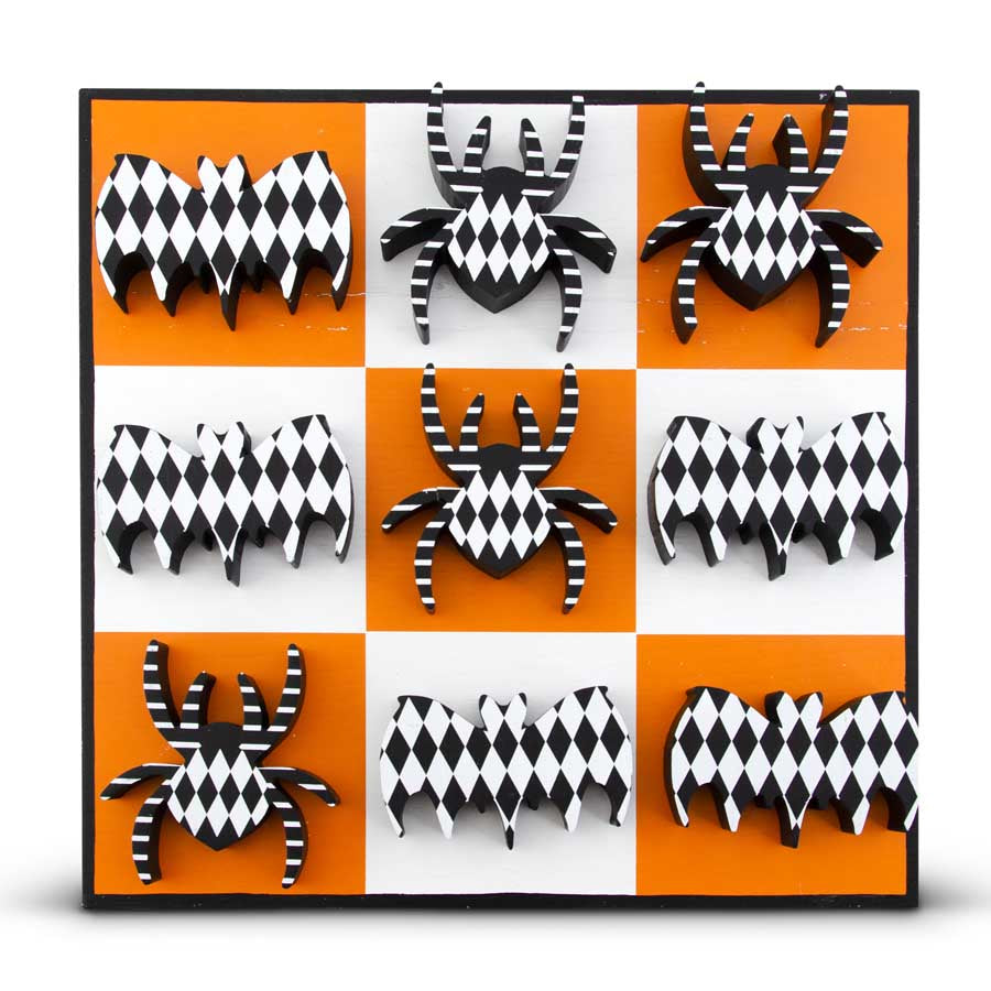 15.75 Inch Black White and Orange Spider and Bat Tic Tac Toe Board