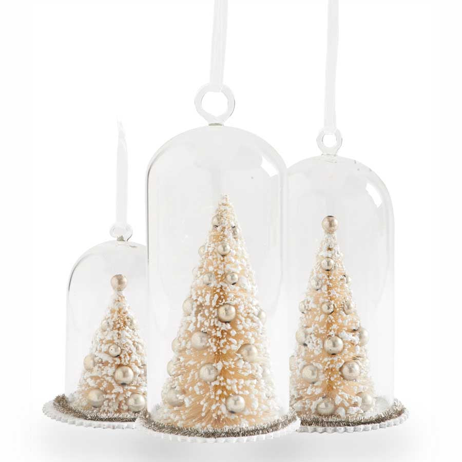 Set of 3 Trees in Glass Domes w/Silver Ornaments