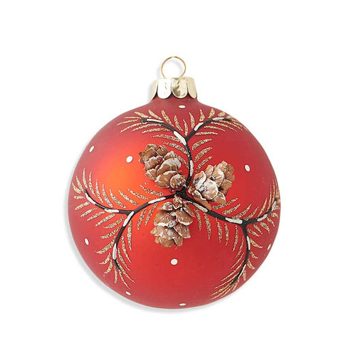 3 Inch Round Red Matte Glass Ornament with Real Cone Detail