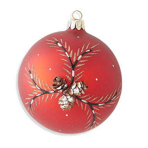 4 Inch Round Red Matte Glass Ornament with Real Cone Detail