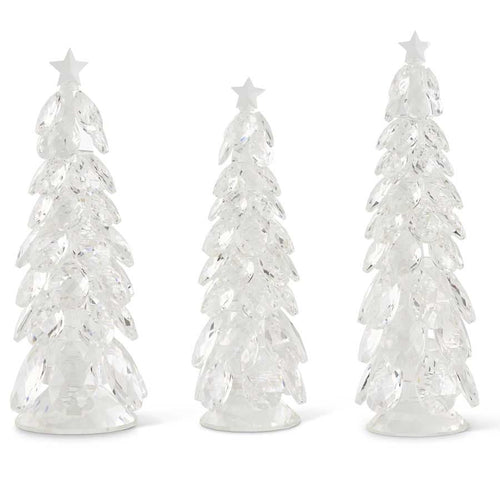 Set of 3 Crystal Tear Drop Christmas Trees w/Star (Grad Sizes) Grad. Sizes
