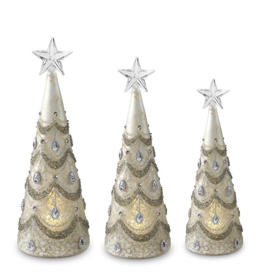 Set of 3 Mercury Glass LED Trees w/Silver Jewels