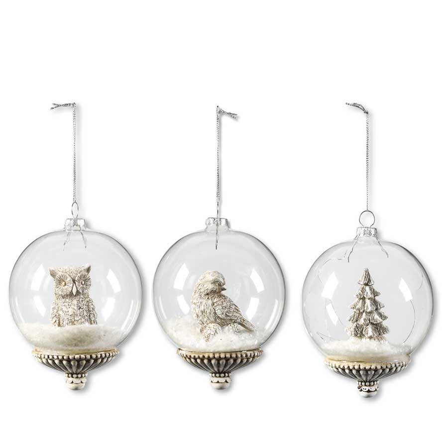 Assorted Small 4.5 Inch Round Glass Ornament w/Resin Base and Figure