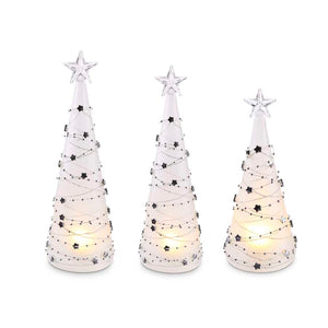 Set of 3 Battery Operated LED Christmas Trees with Silver Star Detail