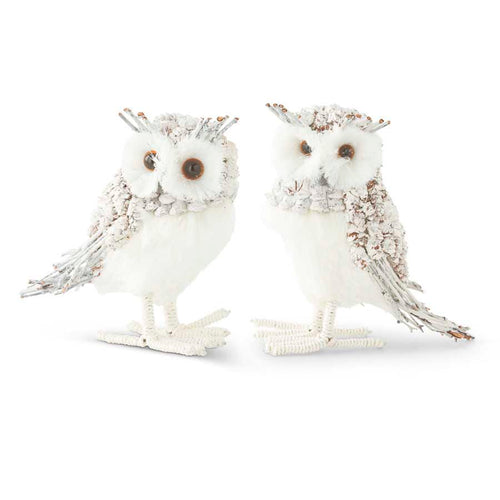 Assorted Small Pinecone and Twig White Owls (2 Styles)