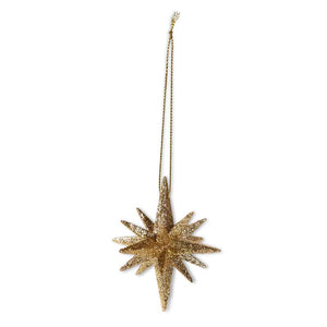 2 Inch 9 Point Gold Glitter Star Ornament