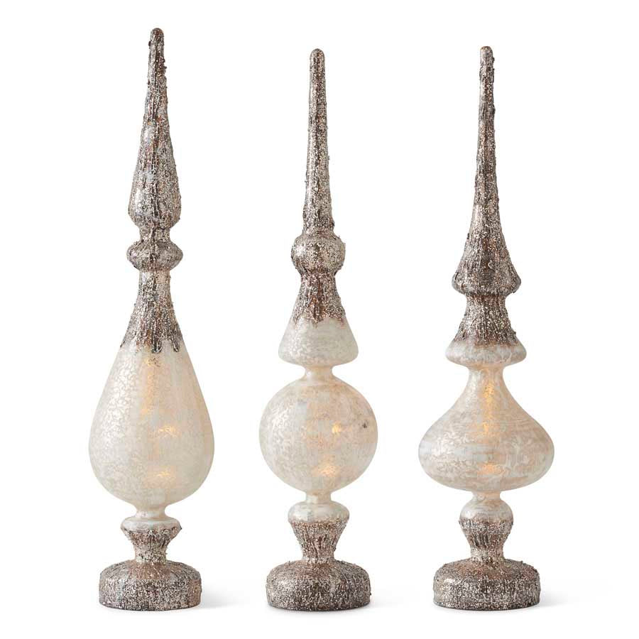 Set of 3 Glass Battery Operated LED Birch Bark Tabletop Finials