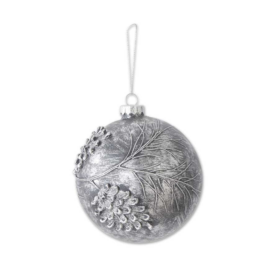 5 Inch Slate Gray Glass Round Ornament with Pinecones and Glitter