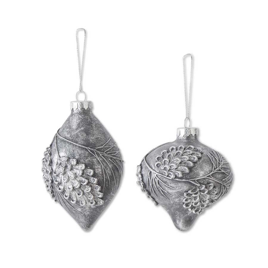 Assorted Slate Gray Gllass Onion and Teardrop Ornaments With Pinec