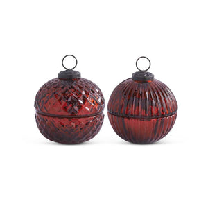 Assorted 3.5 Inch Filled Red Mercury Glass Lidded Ornament Candles