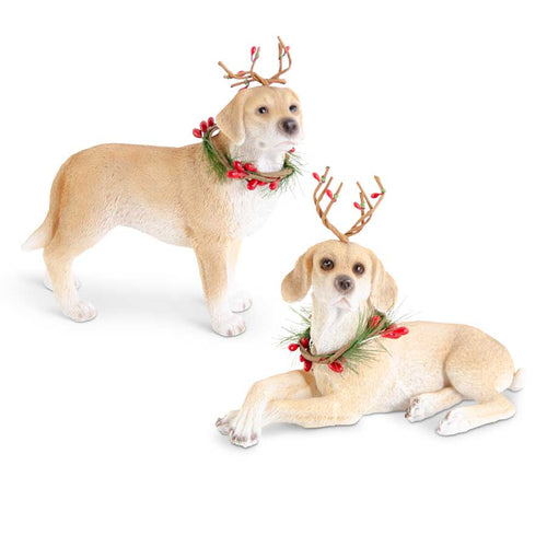 Assorted Resin Brown Dogs w/Antlers and Wreath (2 Styles)