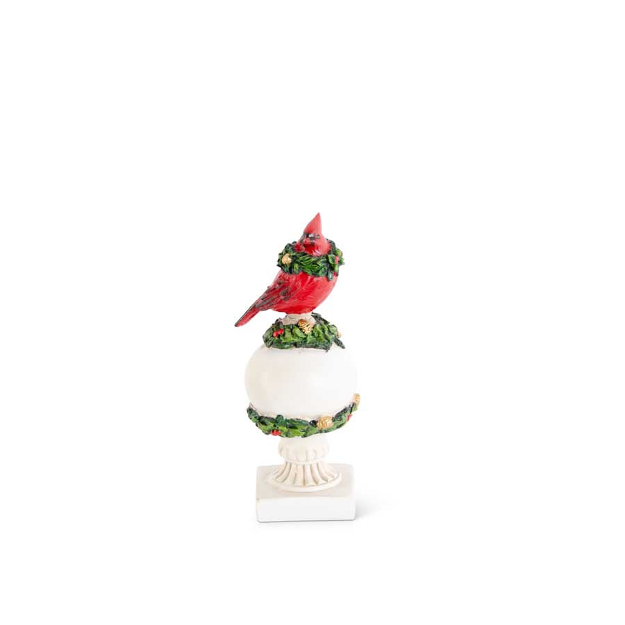 6.25 Inch Resin Cardinal Ball Finial Trimmed in Holly