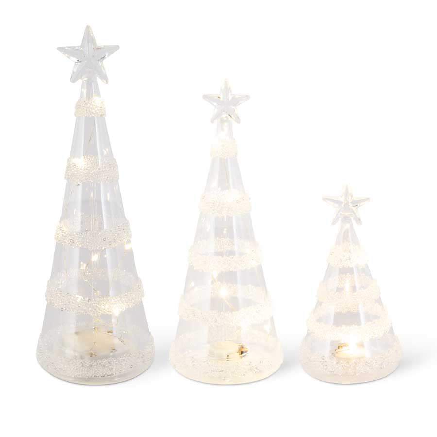 Clear Glass LED Tree w/Striped Glass Beads (Grad Sizes)