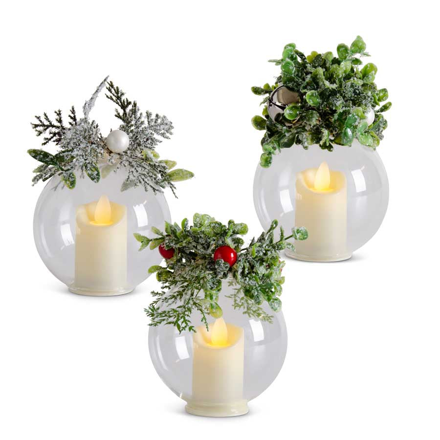 Assorted 5 Inch Icy Mistletoe/Pine Glass LED Flicker Ornaments