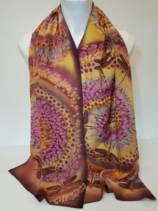 Hand Painted Silk Scarf With Dragonfly