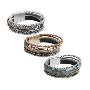 Assorted Four Strap Bead and Cord Magnetic Bracelets (3 Colors)