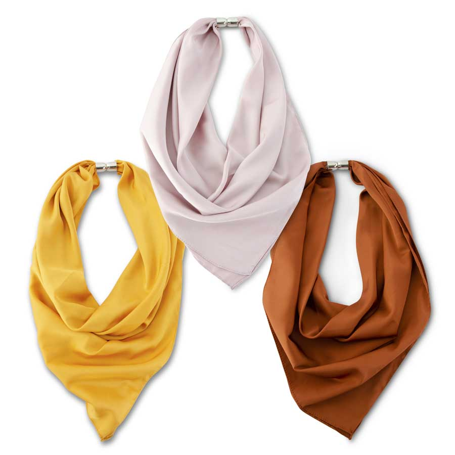 Assorted Warm Tone Solid Magnetic Scarves (3 Colors)