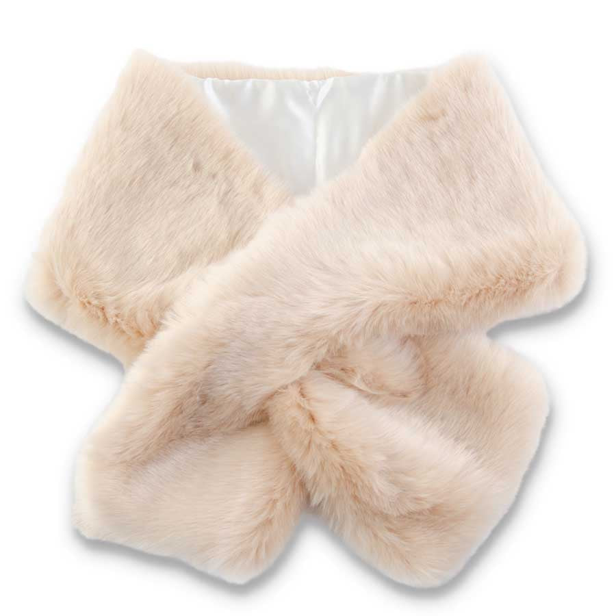 63 Inch Tan Faux Fox Fur Wrap