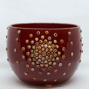 Ceramic Bowl with Bubbles (Red, White, Dark Blue or Brown)