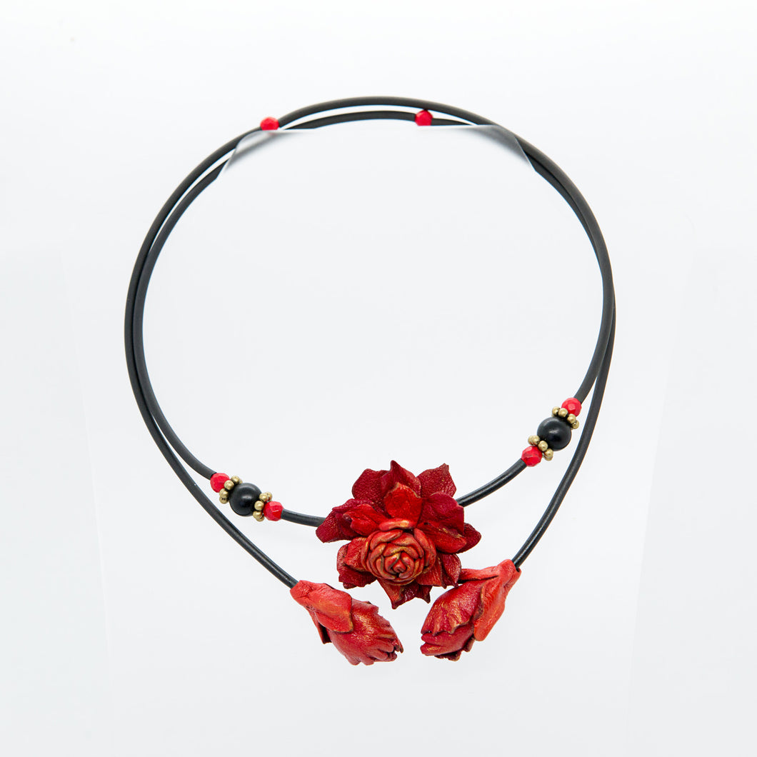 Handmade Leather Necklace with Red Flowers