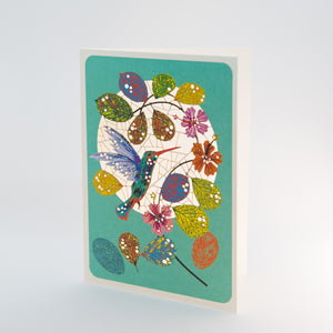 Colorful Hummingbird-Blue Card
