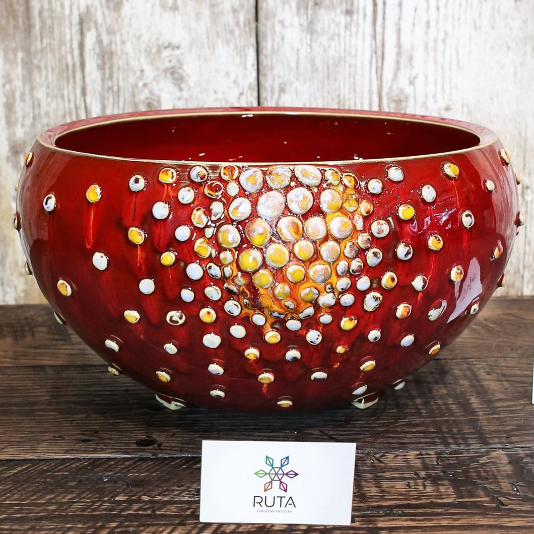 Large Ceramic Bowl with Bubbles (Red or White)