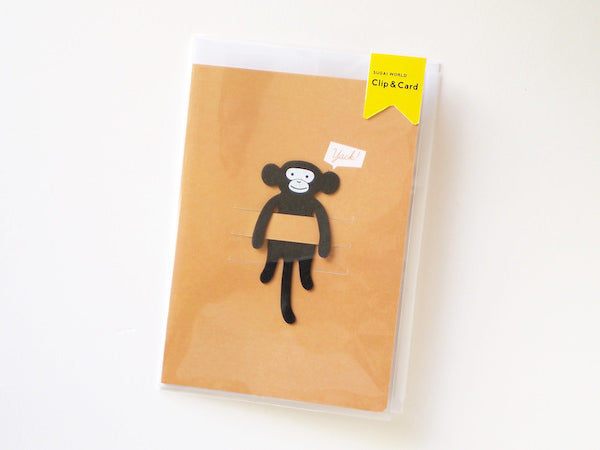 Paper Clip / Card & Bookmark Black Monkey