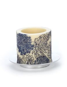 Peonies Recess Pillar Ivory/Dark-Silver candle