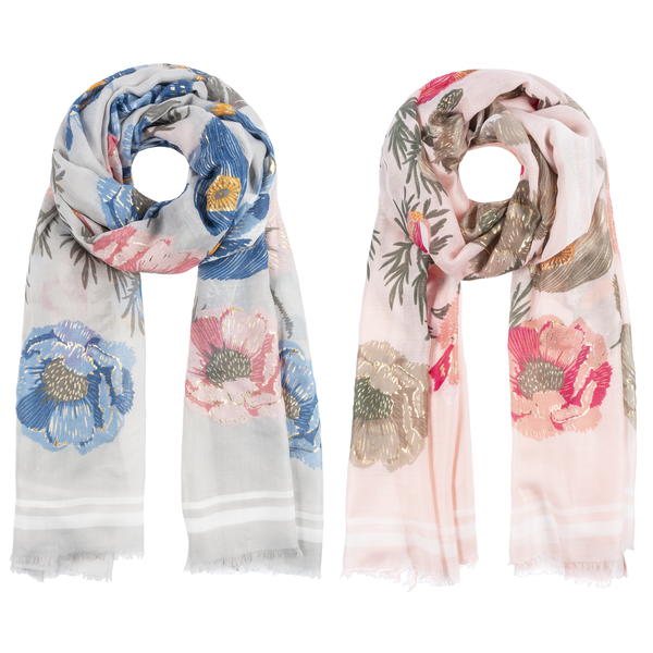 Gold Accent Floral Scarves