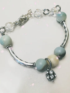 Hand made Jewelry set with Amazonite Stone and Swarovski crystals