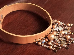 Leather Choker and Bracelet with Swarovski crystals