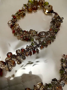 Hand made Jewelry set Brown with Swarovski crystals