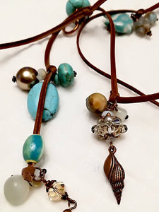 Hande made Necklaces with Turquoise and ceramic Swarovski crystals