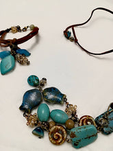 Hand made Bracelet with Turquoise/Leather/Ceramics/Swarovski crystals