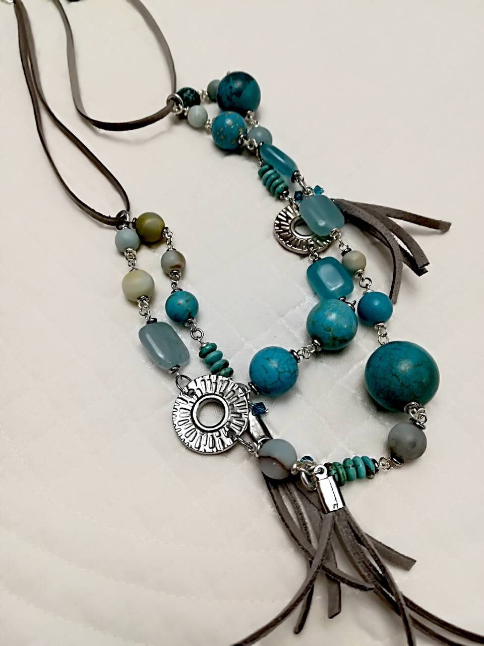 Hand Made Necklaces with turquoise and Venetian glass