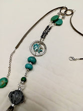 Hand made Leather necklaces with Turquoise Swarovski crystals and Ceramic